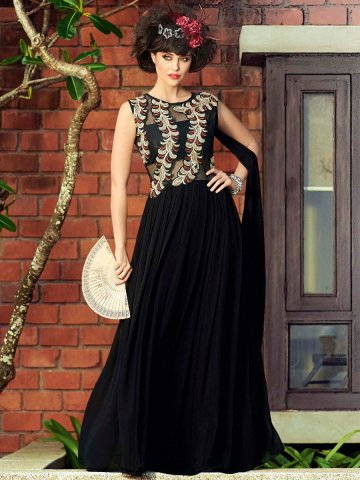 Stylus Black Party Wear Semi Stitched Long Gown | Stylus Gown-10021 ...
