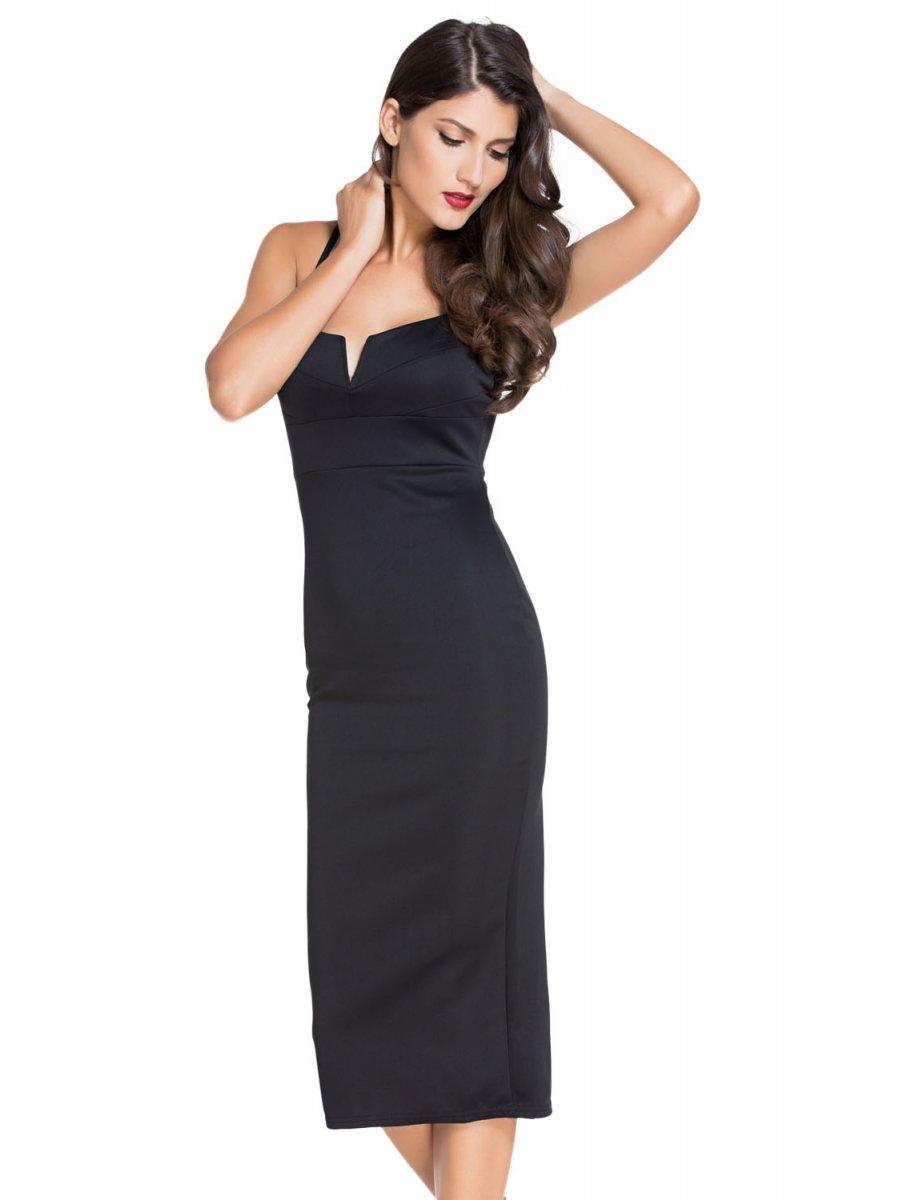8f7cc9a8b101 Black Plunging V Neck Midi Dress