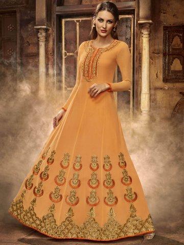 Silken Wild Orange Gown Style Semi Stitched Suit   Eternal-182 ...