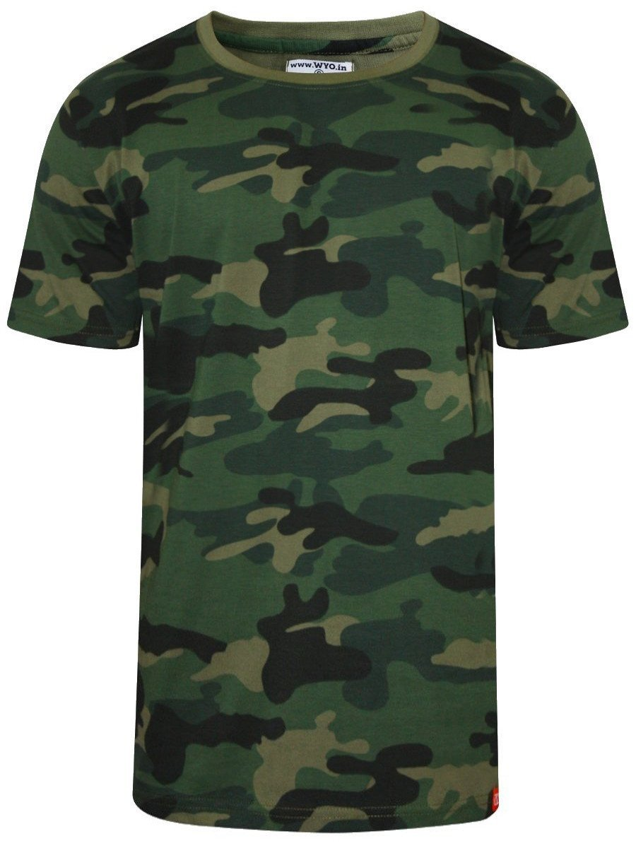 Buy T Shirts Online Wyo Green Round Neck Camo Print T