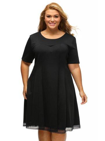 58ab93fa86f0b Black V Back Lace Hemline Curvy Skater Dress
