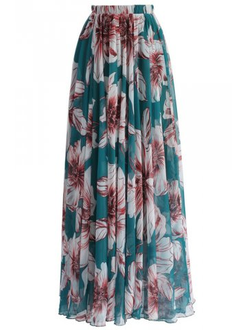 Green Blossoming Floral Chiffon Maxi Skirt at cilory