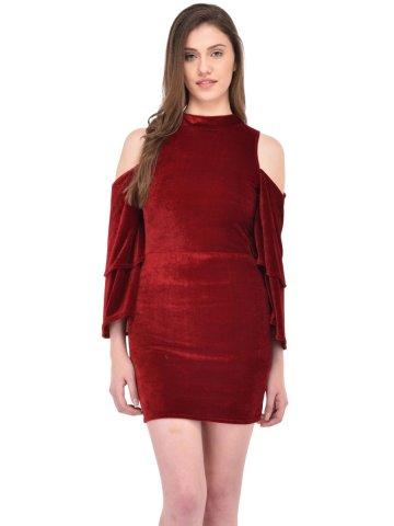 8f7df03f96aab Rigo Maroon Velvet Cold Shoulder Dress | Wdrs139-1049 | Cilory.com