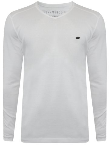 Numero Uno White V-Neck Full Sleeves T-Shirt at cilory