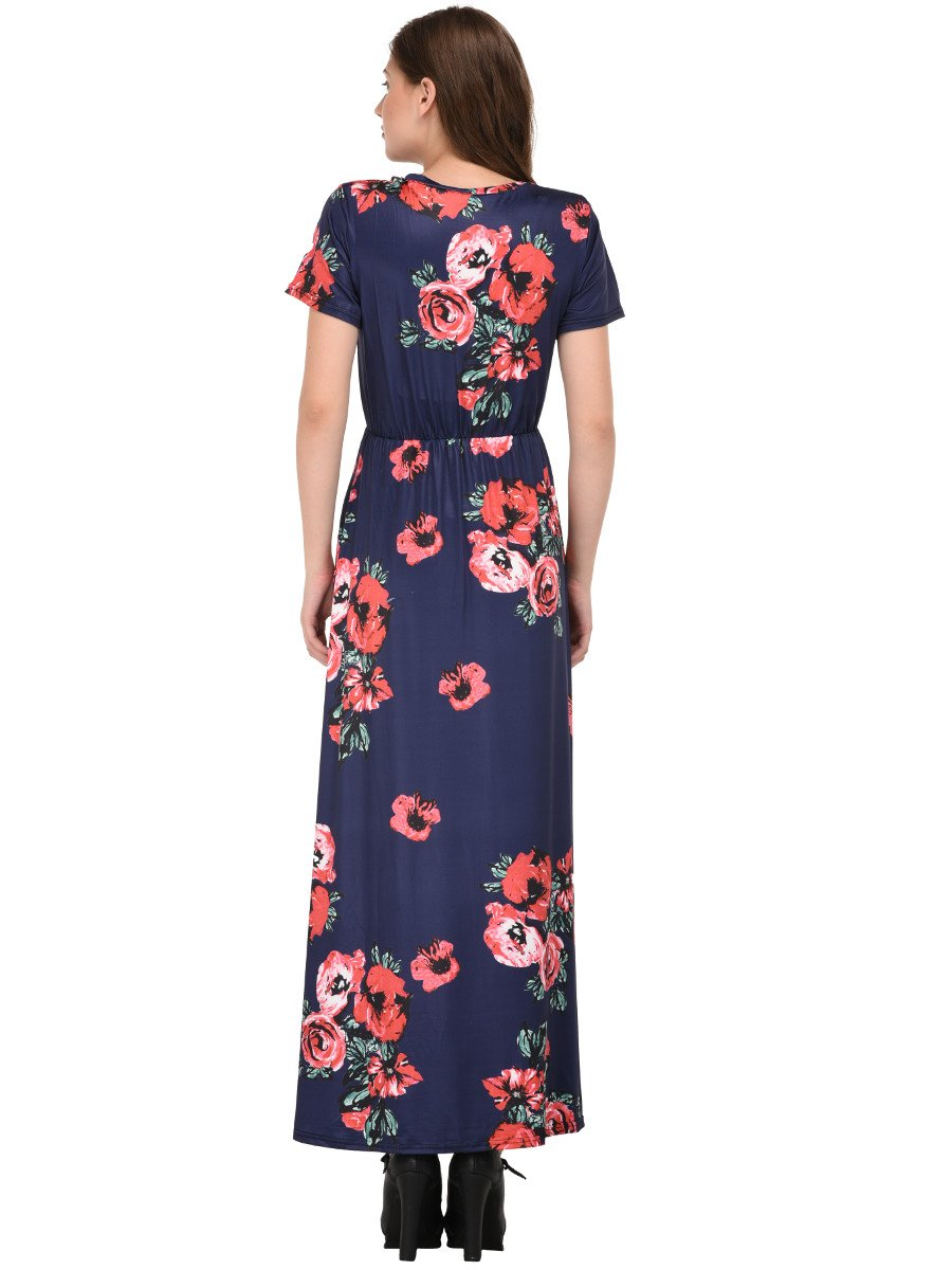 cf138b3a04 Pocket Design Short Sleeve Navy Blue Floral Maxi Dress