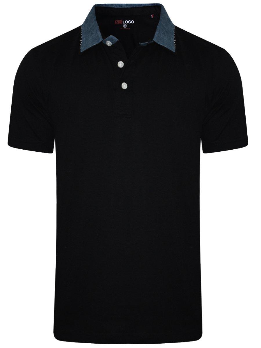 Buy T Shirts Online Nologo Black Polo T Shirt With Denim Collar