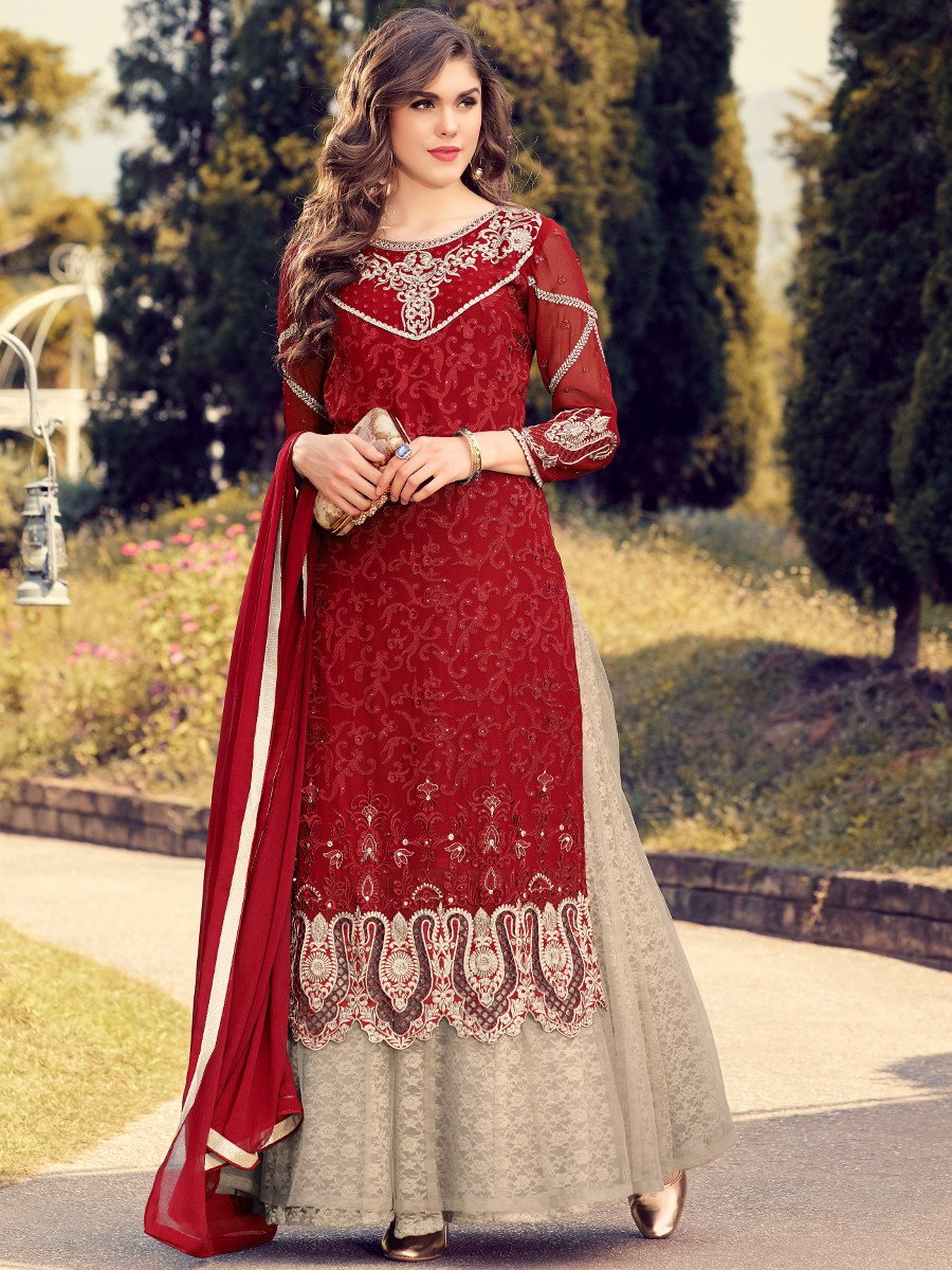 Glamour Deep Red Amp Brown Semi Stitched Heavy Work Suit