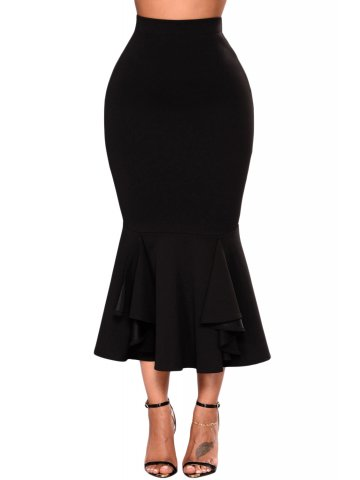 Black Ruffled Mermaid Skirt at cilory