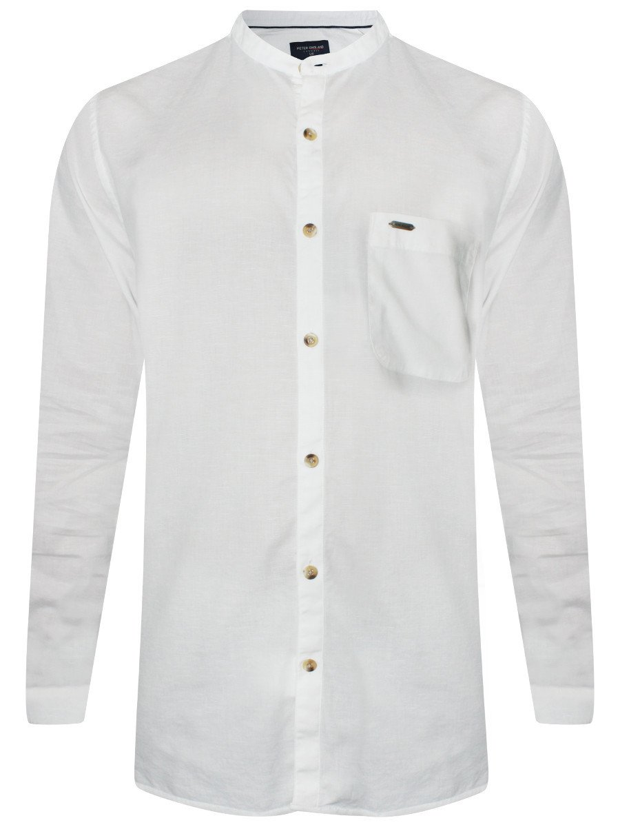 b867ce38b Peter England White Slim Fit Linen Chinese Collar Shirt ...