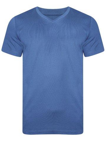 Uni Style Image Blue V Neck T-Shirt at cilory