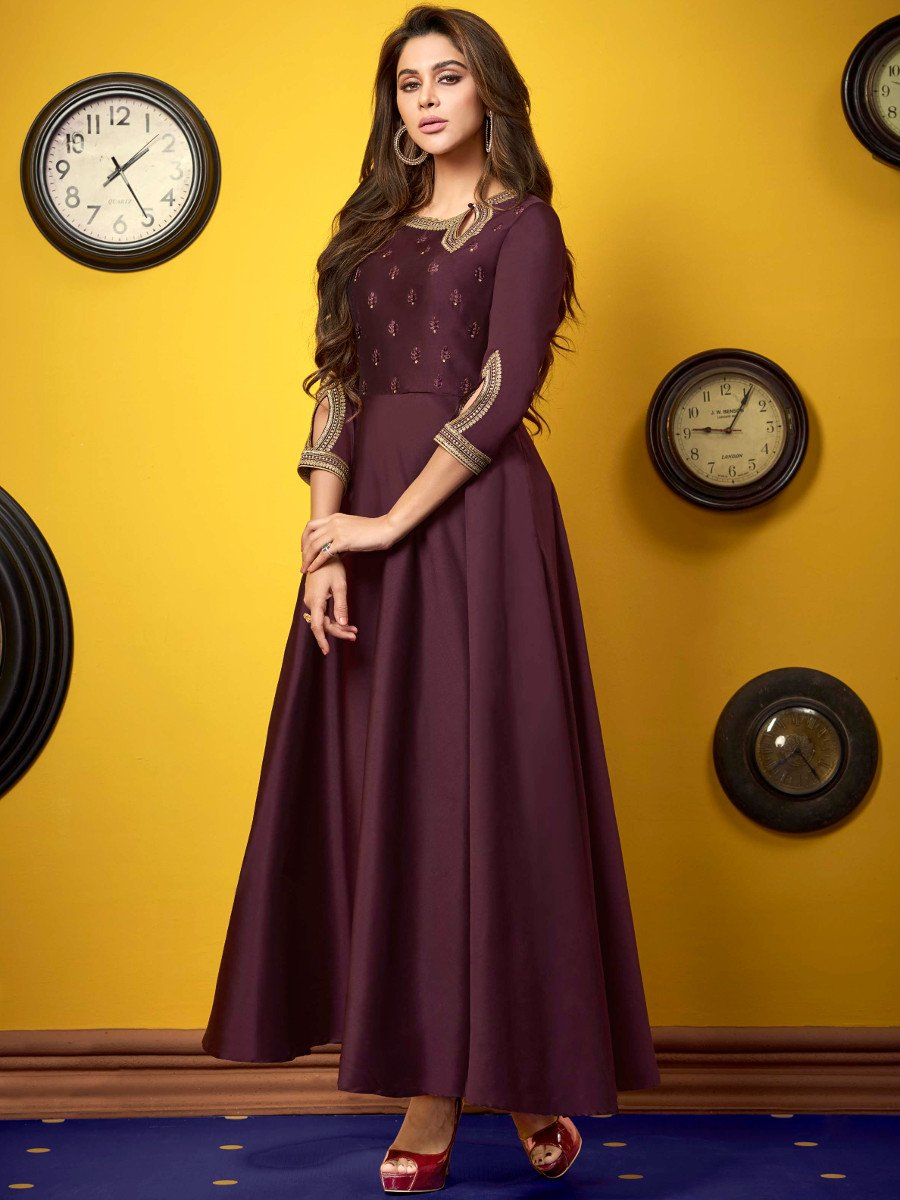 Top Online Magazines 2015: Shubh Wine Embroidered Gown Style Kurti