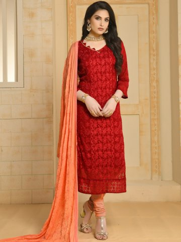 0117ca169e5847 Red Semi Stitched Embroidered Suit | Dinnar22-3095 | Cilory.com
